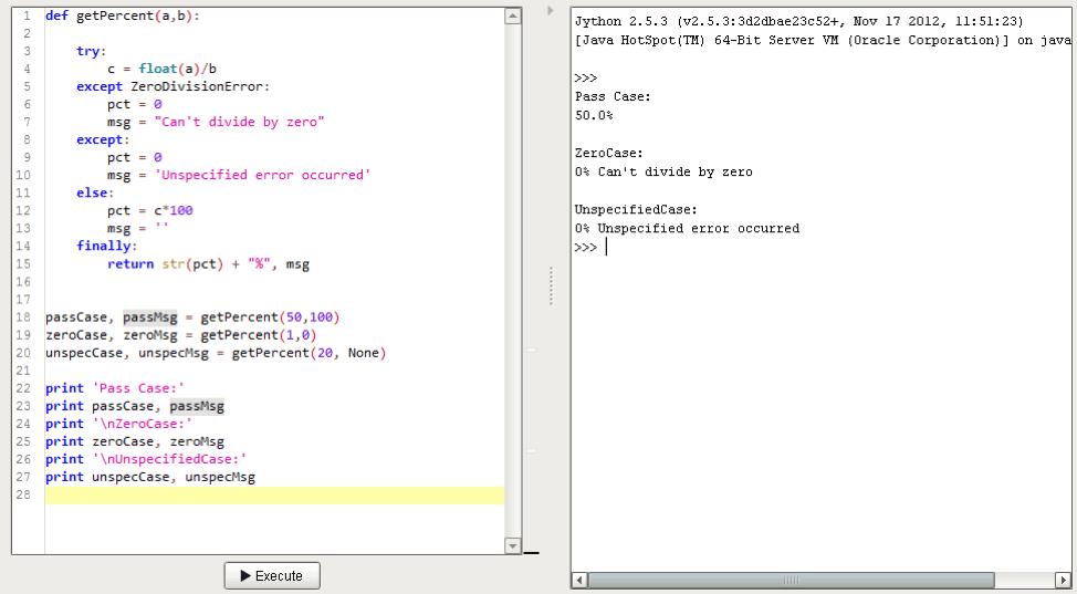 Else Finally Error Handling Example